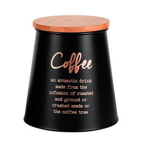 Altom Dóza s bambusovým víkem na kávu, černá