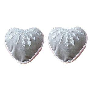 Altom Sada sametových vánočních ozdob Shiny Hearts 2 ks, šedá