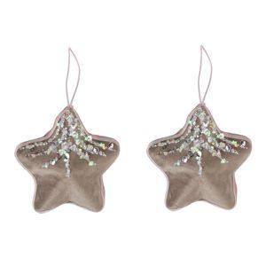 Altom Sada sametových vánočních ozdob Shiny Stars 2 ks, šedá