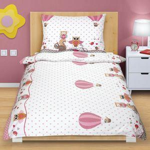Bavlněné povlečení Sovička růžová, 140 x 200, 70 x 90 cm