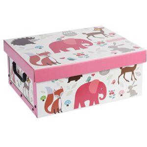 Dekorační box Hatu Slon růžová, 37 x 30 x 16 cm