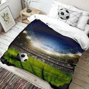 Dětské bavlněné povlečení Fotbal 3D, 140 x 200 cm, 70 x 90 cm