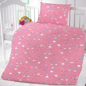 Dětské bavlněné povlečení do postýlky Obláčky růžová, 90 x 135 cm, 45 x 60 cm