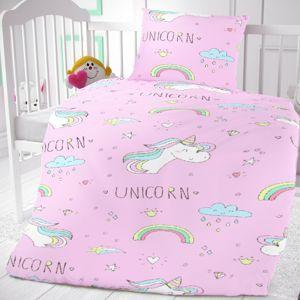 Dětské bavlněné povlečení do postýlky Unicorn, 90 x 135 cm, 45 x 60 cm