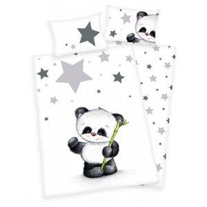 Dětské povlečení do postýlky Jana Star Panda, 135 x 100 cm, 40 x 60 cm