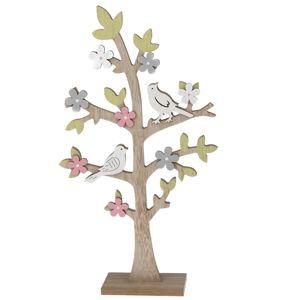 Dřevěná dekorace Velký kvetoucí strom, 22,5 x 40,5 cm