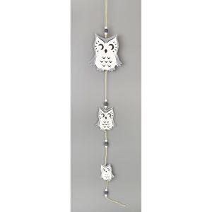 Dřevěná závěsná dekorace Sova bílá, 50 cm
