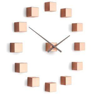 Future Time FT3000CO Cubic copper Designové samolepicí hodiny, pr. 50 cm