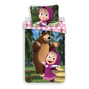Jerry Fabrics Dětské bavlněné povlečení Máša a medvěd 051, 140 x 200 cm, 70 x 90 cm