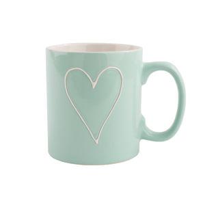 Keramický hrnek Heart 630 ml, sv. zelená