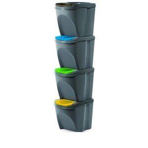 Koš na tříděný odpad Sortibox 25 l, 4 ks, šedá