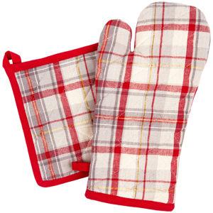 Kuchyňská sada chňapka a podložka Káro červeno-běžová, 18 x 32 cm, 20 x 20 cm
