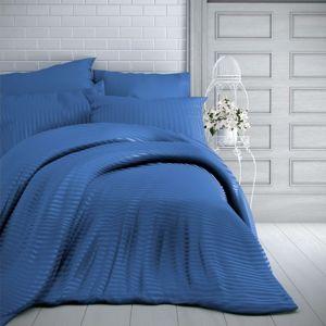 Kvalitex Saténové povlečení Stripe modrá, 140 x 220 cm, 70 x 90 cm