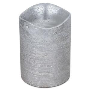 LED svíčka potažená voskem 7,6 x 10 cm, stříbrná