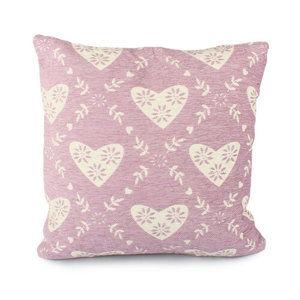Povlak na polštář Srdce růžová, 40 x 40 cm