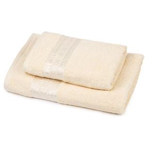Sada Strook ručník a osuška smetanová, 70 x 140 cm, 50 x 100 cm