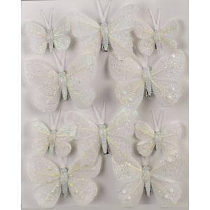 Sada vánočních ozdob Motýlci bílá, 10 ks