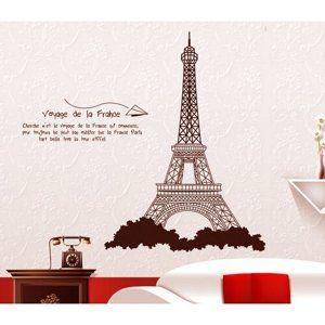 Samolepicí dekorace Eiffelova věž hnědá