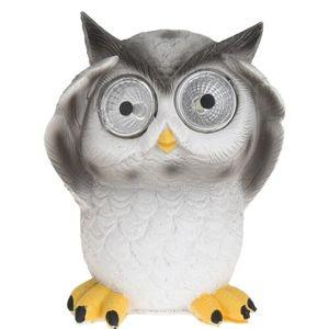 Solární světlo Standing owl šedá, 9 x 9 x 12,5 cm