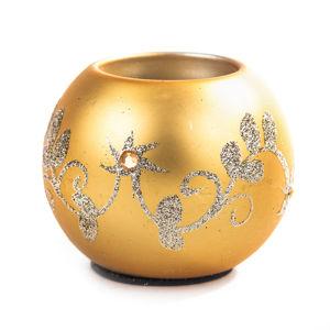 Svícen koule 7,5 cm zlatá