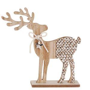 Vánoční dřevěná dekorace Reindeer with ribbon šedá, 26 cm