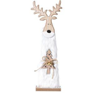 Vánoční dřevěný Sob Ervín bílá, 40 cm