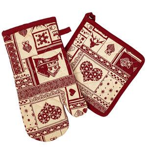 Vánoční kuchyňská sada chňapka a podložka Patchwork červená, 18 x 32 cm, 20 x 20 cm