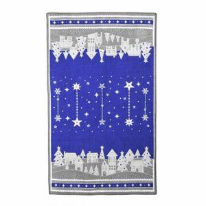 Vánoční utěrka Zimní vesnička modrá, 45 x 70 cm