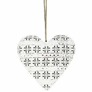 Závěsná kovová dekorace Cloverleaf heart, 14 cm