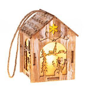 Závěsný dřevěný domeček s LED světlem Sněhulák, 5 x 8,2 cm